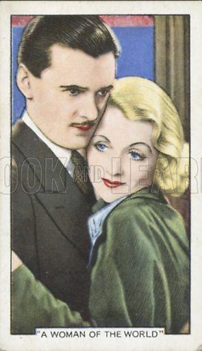 Constance Bennett and Hugh Williams in A Woman of the World. Shots from famous films.  Gallaher cigarette cards, early 20th century.