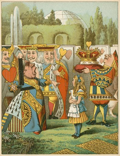 """The Queen said severely """"Who is this?"""" from Alice's Adventures in Wonderland by Lewis Carroll (De Wolfe, c 1890). Image slightly re-touched to remove tissue paper."""