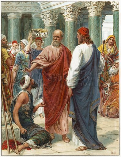 """In the name of Jesus Christ of Nazareth, rise up and walk.""  Illustration for Bible Stories by L L Weedon (Ernest Nister, c 1890). Chromolithograph."