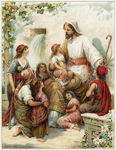 Suffer the little children to come to me.  Illustration for Bible Stories by L L Weedon (Ernest Nister, c 1890). Chromolithograph.