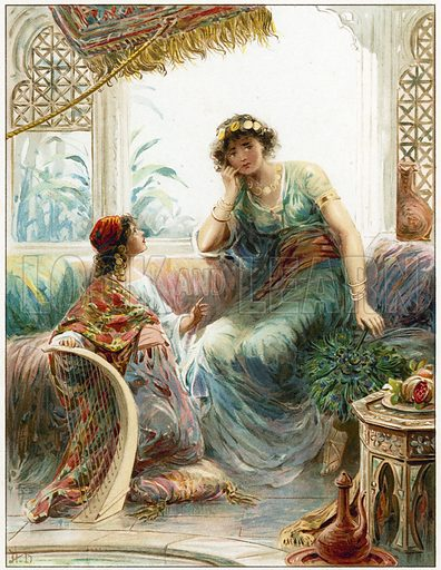 The Captive Maid and Naaman's Wife. Illustration for Bible Stories by L L Weedon (Ernest Nister, c 1890). Chromolithograph.
