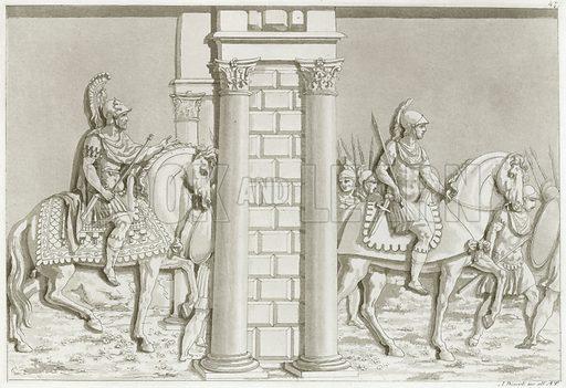 Greek soldiers on horseback.