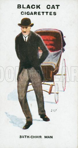 Bath-Chair Man. Illustration for Types of London cigarette cards issued by Carreras for Black Cat cigarettes in early 20th century.