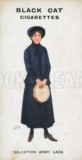 Salvation Army Lass. Illustration for Types of London cigarette cards issued by Carreras for Black Cat cigarettes in early 20th century.