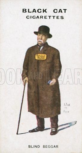 Blind Beggar. Illustration for Types of London cigarette cards issued by Carreras for Black Cat cigarettes in early 20th century.