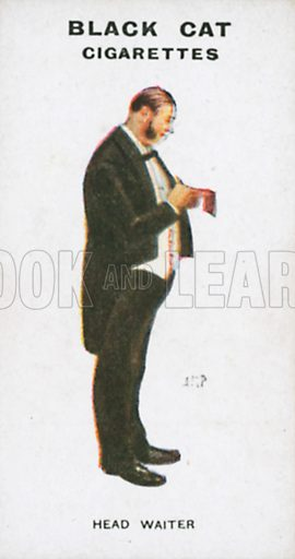 Head Waiter. Illustration for Types of London cigarette cards issued by Carreras for Black Cat cigarettes in early 20th century.