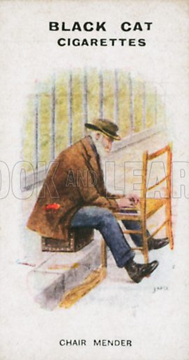 Chair Mender. Illustration for Types of London cigarette cards issued by Carreras for Black Cat cigarettes in early 20th century.