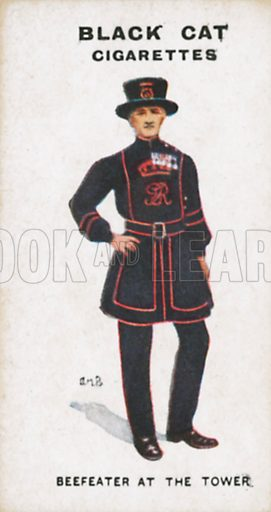 Beefeater at the Tower. Illustration for Types of London cigarette cards issued by Carreras for Black Cat cigarettes in early 20th century.