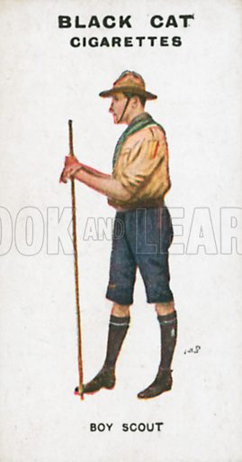 Boy Scout. Illustration for Types of London cigarette cards issued by Carreras for Black Cat cigarettes in early 20th century.