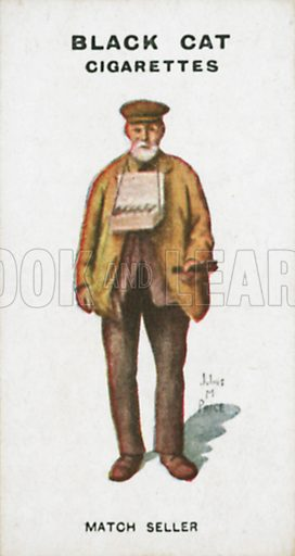 Match Seller. Illustration for Types of London cigarette cards issued by Carreras for Black Cat cigarettes in early 20th century.