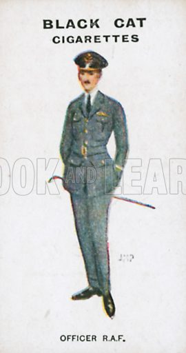 Officer R.A.F. Illustration for Types of London cigarette cards issued by Carreras for Black Cat cigarettes in early 20th century.