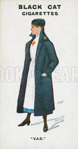 """""""V.A.D."""" Illustration for Types of London cigarette cards issued by Carreras for Black Cat cigarettes in early 20th century."""