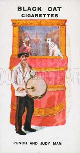 Punch and Judy Man. Illustration for Types of London cigarette cards issued by Carreras for Black Cat cigarettes in early 20th century.