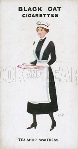 Tea-Shop Waitress. Illustration for Types of London cigarette cards issued by Carreras for Black Cat cigarettes in early 20th century.