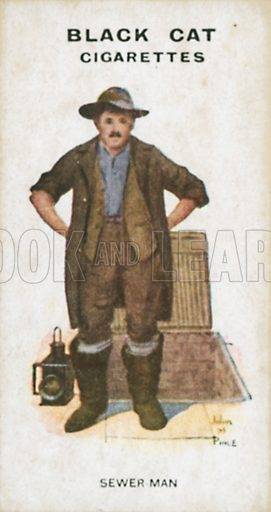 Sewer Man. Illustration for Types of London cigarette cards issued by Carreras for Black Cat cigarettes in early 20th century.