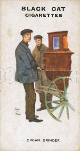 Organ Grinder. Illustration for Types of London cigarette cards issued by Carreras for Black Cat cigarettes in early 20th century.