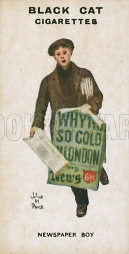 Newspaper Boy. Illustration for Types of London cigarette cards issued by Carreras for Black Cat cigarettes in early 20th century.