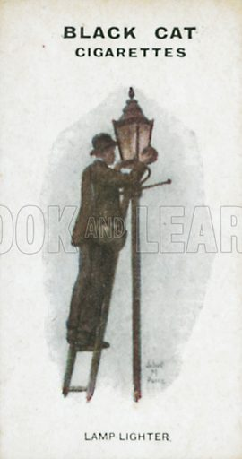 Lamp Lighter. Illustration for Types of London cigarette cards issued by Carreras for Black Cat cigarettes in early 20th century.