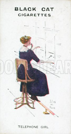 Telephone Girl. Illustration for Types of London cigarette cards issued by Carreras for Black Cat cigarettes in early 20th century.