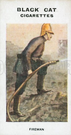 Fireman. Illustration for Types of London cigarette cards issued by Carreras for Black Cat cigarettes in early 20th century.