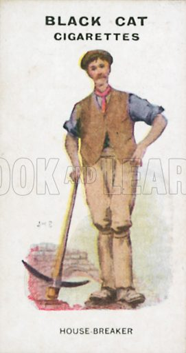 House-Breaker. Illustration for Types of London cigarette cards issued by Carreras for Black Cat cigarettes in early 20th century.