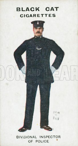 Divisional Inspector of Police. Illustration for Types of London cigarette cards issued by Carreras for Black Cat cigarettes in early 20th century.