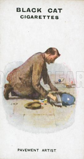 Pavement Artist. Illustration for Types of London cigarette cards issued by Carreras for Black Cat cigarettes in early 20th century.