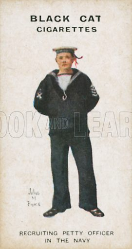 Recruiting Petty Officer in the Navy. Illustration for Types of London cigarette cards issued by Carreras for Black Cat cigarettes in early 20th century.