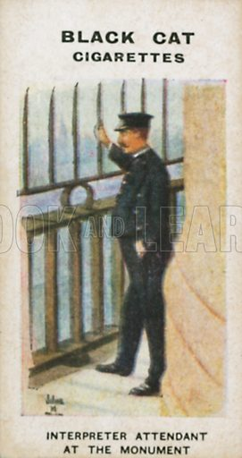 Interpreter Attendant at the Monument. Illustration for Types of London cigarette cards issued by Carreras for Black Cat cigarettes in early 20th century.