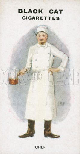 Chef. Illustration for Types of London cigarette cards issued by Carreras for Black Cat cigarettes in early 20th century.
