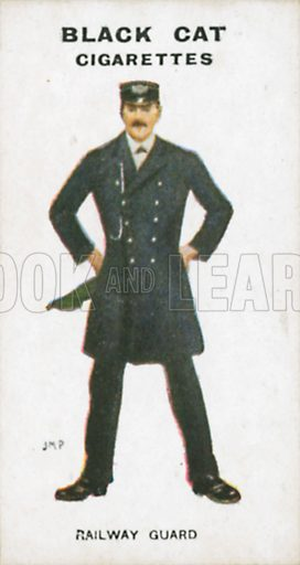 Railway Guard. Illustration for Types of London cigarette cards issued by Carreras for Black Cat cigarettes in early 20th century.