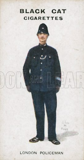 London Policeman. Illustration for Types of London cigarette cards issued by Carreras for Black Cat cigarettes in early 20th century.
