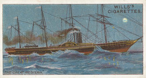 """The """"Great Western"""". Illustration for Wills's Celebrated Ships cigarette card series (early 20th century)."""