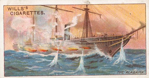 """The """"Alabama"""". Illustration for Wills's Celebrated Ships cigarette card series (early 20th century)."""