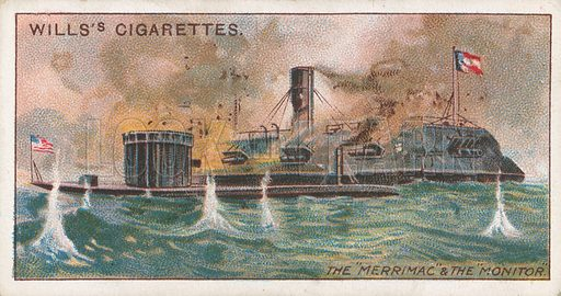 """The """"Merrimac"""" & the """"Monitor"""". Illustration for Wills's Celebrated Ships cigarette card series (early 20th century)."""