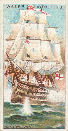 """H.M.S. """"Victory"""". Illustration for Wills's Celebrated Ships cigarette card series (early 20th century)."""