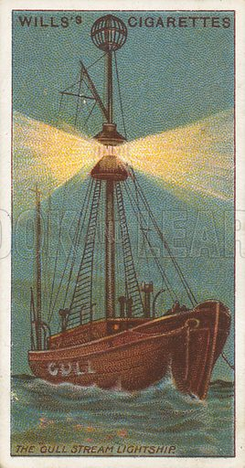 "The ""Gull Stream"" Lightship. Illustration for Wills's Celebrated Ships cigarette card series (early 20th century)."