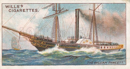 """The """"William Fawcett"""". Illustration for Wills's Celebrated Ships cigarette card series (early 20th century)."""
