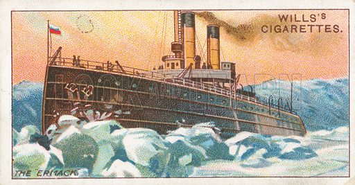 """The """"Ermack"""". Illustration for Wills's Celebrated Ships cigarette card series (early 20th century)."""