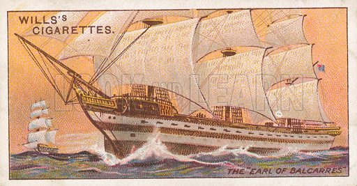 """The """"Earl of Balcarres"""". Illustration for Wills's Celebrated Ships cigarette card series (early 20th century)."""
