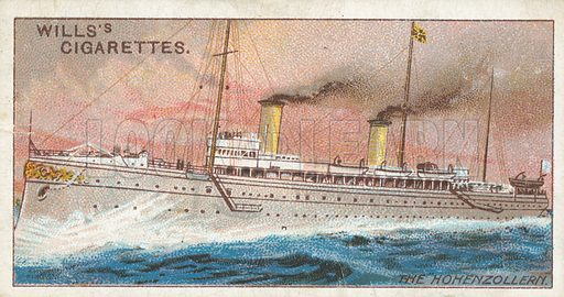"The ""Hohenzollern"". Illustration for Wills's Celebrated Ships cigarette card series (early 20th century)."