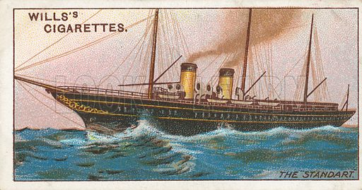 """The """"Standart"""". Illustration for Wills's Celebrated Ships cigarette card series (early 20th century)."""
