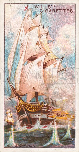 "H.M.S. ""Captain"". Illustration for Wills's Celebrated Ships cigarette card series (early 20th century)."