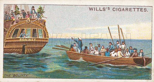 "The ""Bounty"". Illustration for Wills's Celebrated Ships cigarette card series (early 20th century)."