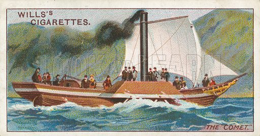 """The """"Comet"""". Illustration for Wills's Celebrated Ships cigarette card series (early 20th century)."""