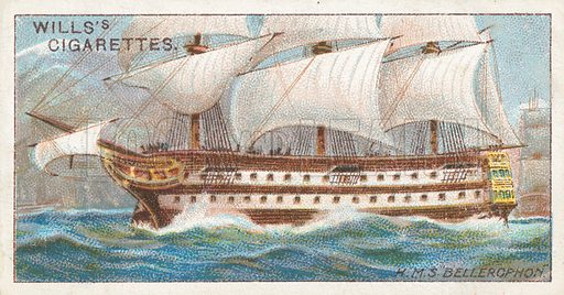 """H.M.S. """"Bellerophon"""". Illustration for Wills's Celebrated Ships cigarette card series (early 20th century)."""