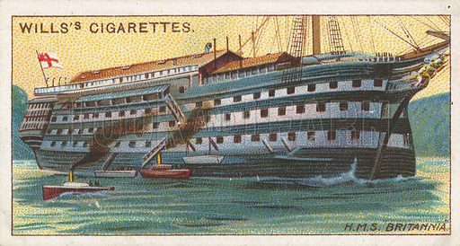 "H.M.S. ""Britannia"". Illustration for Wills's Celebrated Ships cigarette card series (early 20th century)."