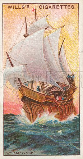 "The ""Matthew"". Illustration for Wills's Celebrated Ships cigarette card series (early 20th century)."