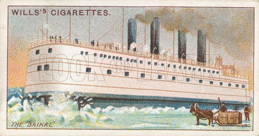 "The ""Baikal"". Illustration for Wills's Celebrated Ships cigarette card series (early 20th century)."