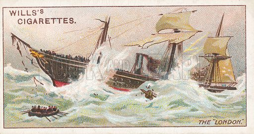 """The """"London"""". Illustration for Wills's Celebrated Ships cigarette card series (early 20th century)."""